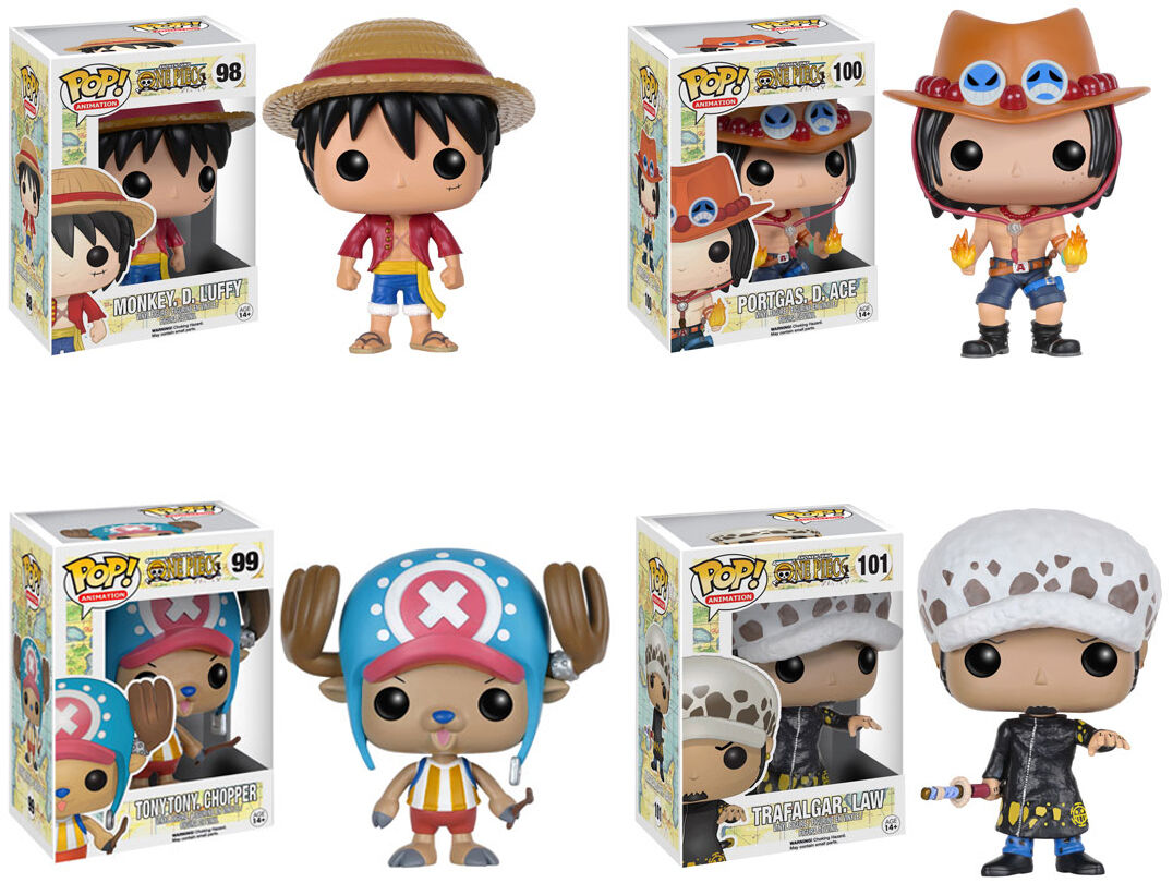 Funko Pop  Animation  One Piece  Set  Luffy, Portgas, Trafalgar, Tony Chopper  livraison directe et rapide