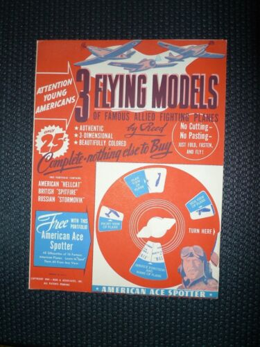 1944 3 Flying Models allied fighting planes Paper kit, W Ace Spotter Unused