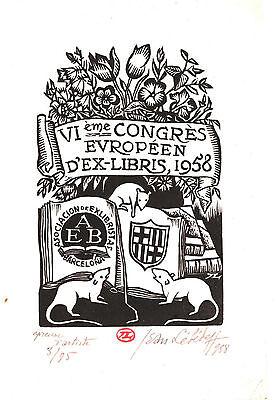 EX-LIBRIS de Jean LÉBÉDEFF pour le dessinateur Jacques LECHANTRE.