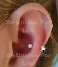 3 Clear Crystal Diamante Cartilage Earring,Cartilage Tragus Nose Hoop Helix Ring