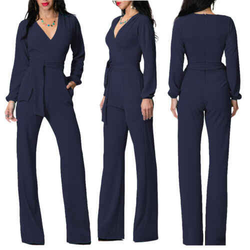 Women Lady Long Sleeve Deep V Neck Belt Party Work Jumpsuit Romper Trouser Pants