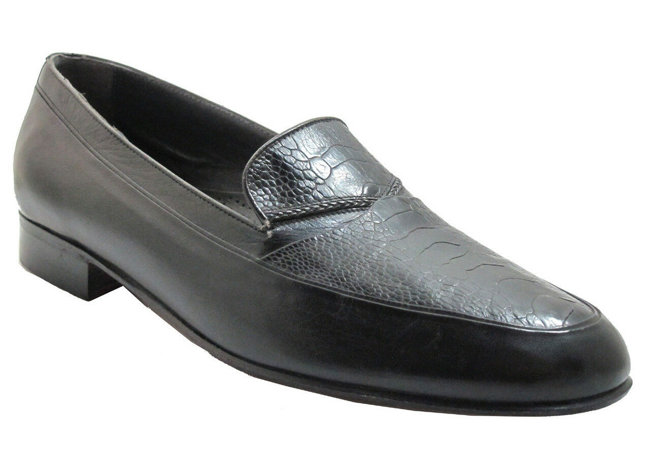 marchio in liquidazione Via Veneto Uomo Uomo Uomo 9334 Italian Moc Toe Slip On Ostrich Leg Loafer in nero  i nuovi stili più caldi