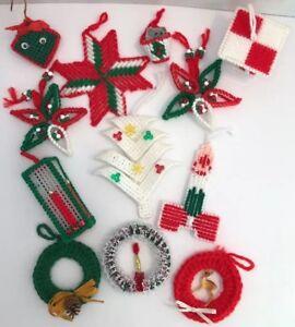 Plastic Canvas Christmas.Details About Hand Crafted Completed Plastic Canvas Christmas Ornaments Candle Mouse 12 Pcs