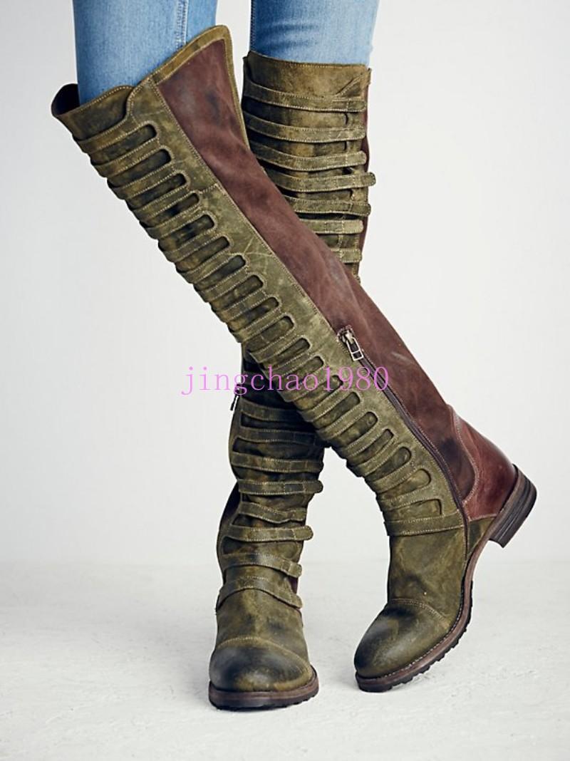 Lo último Largo Para mujeres Cuero De Lujo Diseño Único Vintage Largo último Muslo botas de Montar Ch 2aaf02