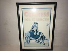 """Framed Guinness Poster """"guinness For Strength"""" No.6 Carthorse Signed John Gilroy"""