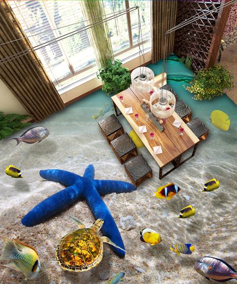 3D Blau Starfish 640 Floor WallPaper Murals Wall Print 5D AJ WALLPAPER UK Lemon