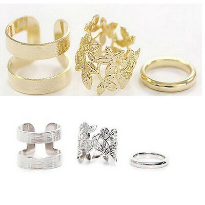3PCS/Set Gold Silver Simple Above Knuckle Midi Finger Ring Stack Cute Gift Rings