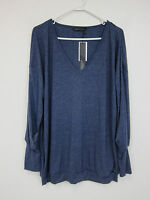 Zanzea Ruched Sleeve Long Sleeve Tunic - Womens 2xl - Blue -