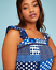 New LANE BRYANT PRINTED RUFFLED PEASANT MAXI PATCHWORK DRESS Blue 18W 20W 22W
