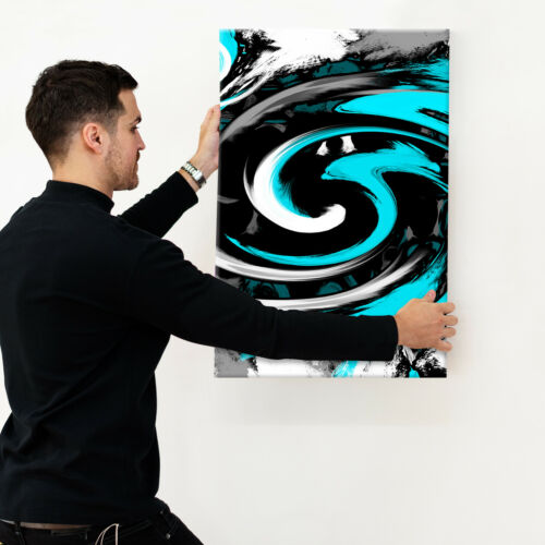 Cyan Black Spiral Portrait Abstract Canvas Wall Art Large Picture Prints