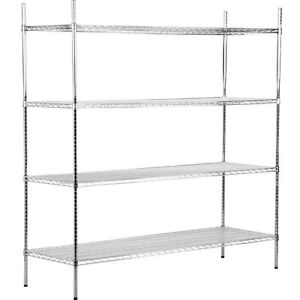 Heavy-Duty-24-034-x-72-034-x-74-034-Rack-Silver-Chrome-Wire-Storage-Shelf-Kit-Commercial
