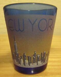 Pre-Owned-New-York-Skyline-Statue-of-Liberty-Cobalt-Blue-Shot-Glass