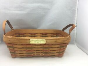 Longaberger-2000-Happy-Holidays-Christmas-Basket-Leather-Handles-Red-Green