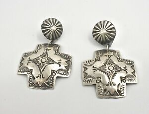 500558 has one dent solid 925 silver button clip on earrings Sterling silver handmade earrings Vintage Stamped 925