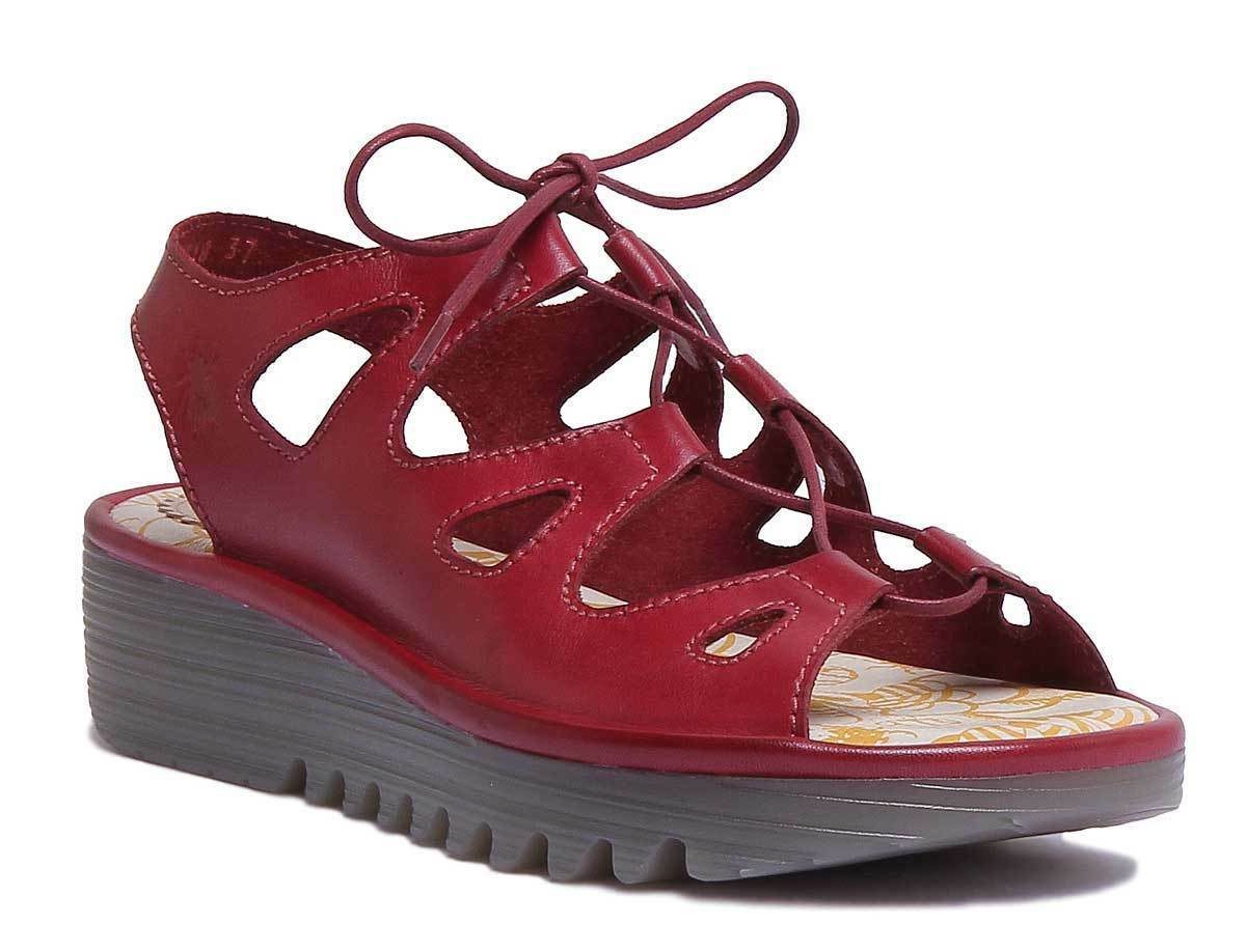 Fly London Exon871 Damens Leder Matt ROT Peep UK Toe Wedge Sandales Größe UK Peep 3 - 8 93c9cf
