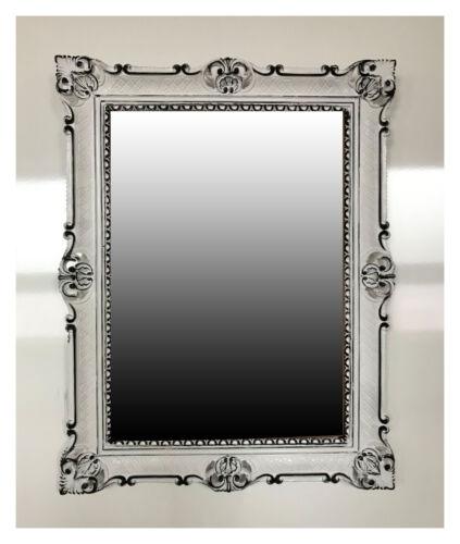 MIROIR BAROQUE MURAL ARGENT VIEILLI ANTIQUE ROCOCO 90x70 cm décoration repro