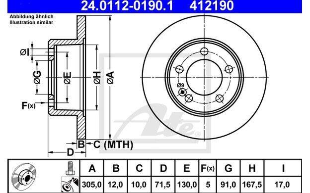 ATE Juego de 2 discos freno 305mm para RENAULT MASTER OPEL MOVANO 24.0112-0190.1
