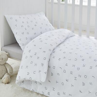 Silentnight Safe Nights Alphabet Cot Bed Duvet Cover Set, Pink/White/Duck Egg