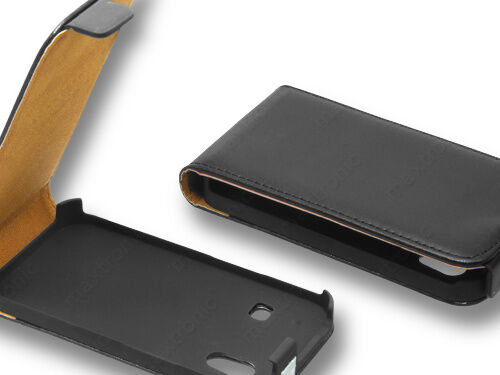 Handy Tasche SLIM für Samsung GT-S5830i Galaxy Ace Schwarz Kunst-Leder Tasche