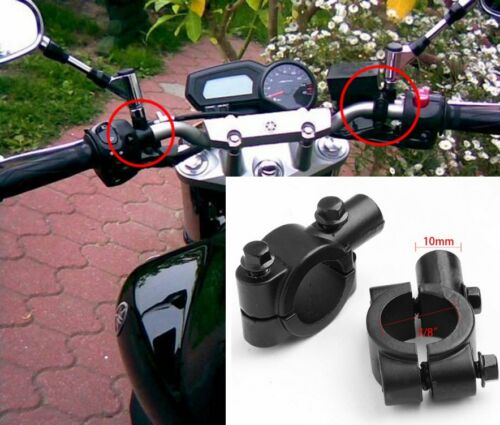 2PCS 10MM MOTORCYCLE BIKE ATV HANDLEBAR MIRROR CLAMP MOUNT 21-23MM BRACKET