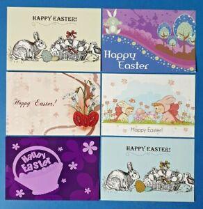 Set-of-6-New-EASTER-Postcards-Greetings-Jesus-Death-Cross-Bunny-Eggs-EX2