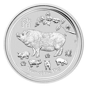 1 oz Silber Lunar Schwein 2019 - Jahr des Schweins Australien Silbermünze