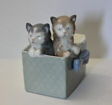 Lladro Nao porcelain figurine TWO CATS IN A BOX