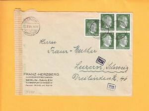Nazi Germany WWII Munich Censor Tape & # Stamps Berlin Dahlem Switzerland 1941 z