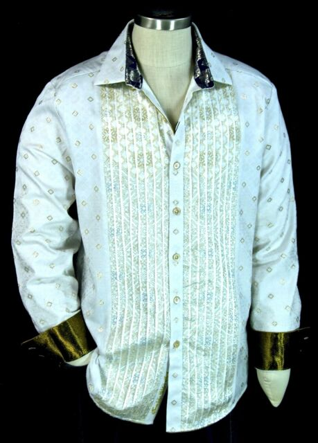Robert Graham Mozart NWT $498 White & Gold Embroidered Limited Edition Large