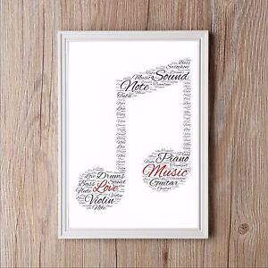 Dom i Meble Personalised Word Art Print music piano violin card gift typography Frame