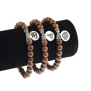 Fashion-Buddha-OM-Lotus-Pendant-Wooden-Beads-Yoga-Reiki-Energy-Elastic-Bracelets