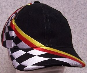 Image is loading Embroidered-Baseball-Cap-Auto-Racing-Stripes -Checkered-Flag- 70bffe5f3393