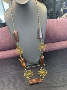 """Ladies Brown squirrel Lucite Gold retro Long Sweater Length Necklace 40"""""""