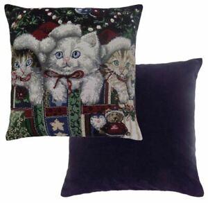 Noel-Chats-Boules-Cadeaux-Coton-Tapisserie-Rouge-Bleu-Blanc-Coussin-Coque-43-2cm