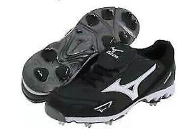 NIB Mens Mizuno 9 Spike Classic Low G5 Metal Baseball Cleats Black White LC Tabs