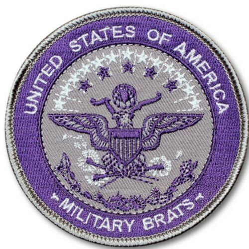 """MILITARY BRATS ID SEAL 3/"""" SEW ON PATCH//DOD JOINT SERVICES PURPL//SLVR"""