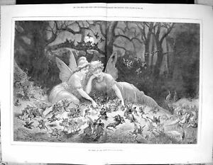 Old-Antique-Print-Home-The-Elves-Beautiful-Woman-Fairy-Night-Scene-1876-19th