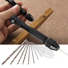 Mini Micro Aluminum Hand Drill With Keyless Chuck +10x Twist Drills Rotary Tools