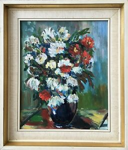 Expressionist-Blooming-Flowers-Still-Life-Unsigned-Oil-Painting