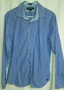 Men's AMERICAN EAGLE Outfitters Blue Stripe Long Sleeve Button Down Shirt -Med