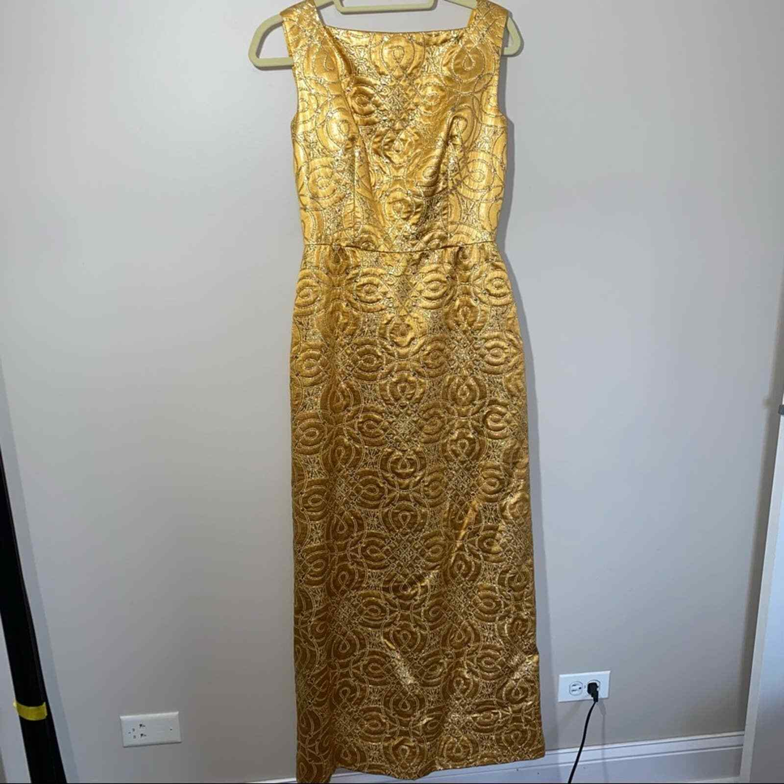 80s Vintage Scaasi Boutique Bombshell Gold Maxi D… - image 3