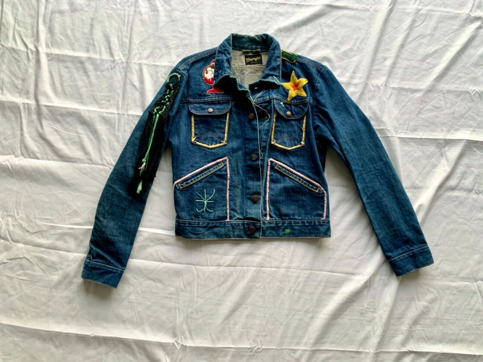 Vintage 70/'s Kawasaki Leather Snap Front Motorcycle Trucker Jacket Navy Blue Small