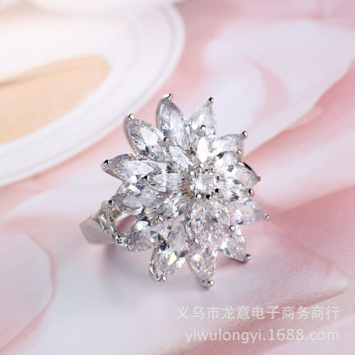 32.5 Cts Sparkling Horse Eye Genuine White Fire Topaz Silver Ring Size 6-10