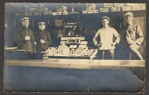 WW1-ARMY-PERSONNEL-GROCERY-DEPOT-MILITARY-ANTIQUE-PHOTO-RPPC-POSTCARD