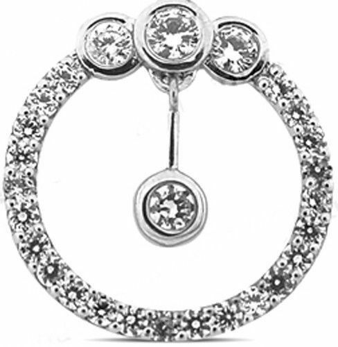 14k White gold Circle pendant 1.64 carat total round Diamonds F color VS clarity