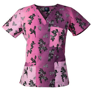 c1870ca929c Medgear Womens Fashion Scrubs Top, Printed V-neck with 4-Pockets ...