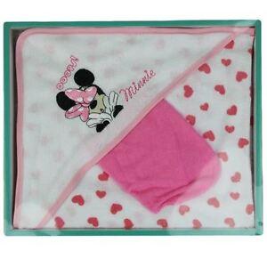 DISNEY-coffret-cadeau-lot-cape-de-bain-gant-MINNIE-blanc-et-rose-coeur-neuf