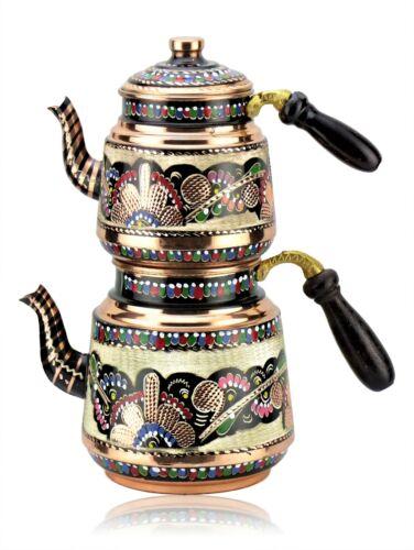 Traditionelles Turkisch Handgemachtes Teekannnen set, Rosenblüten-Kupfer-Teekann