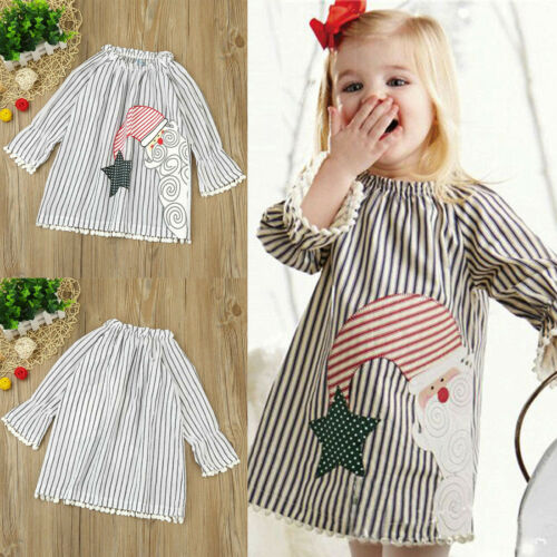 Children Kids Baby Girls Santa Striped Princess Dress Christmas Outfits Clothes