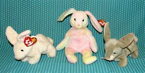3 Vtg Ty Beanie Babies Easter Bunny Rabbits Hippy Nibbly Nibbler 1999 MWMT